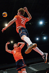 11-08-2019 NED: FIVB Tokyo Volleyball Qualification 2019 / Netherlands - USA, Rotterdam<br /> Final match pool B in hall Ahoy between Netherlands vs. United States (1-3) and Olympic ticket  for USA / Gijs van Solkema #15 of Netherlands, Twan Wiltenburg #22 of Netherlands