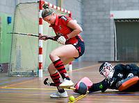 HEILOO -  Schaerweijde speelster Pam Imhof met keeper Laura Hakvoort  tijdens de competitiewedstrijd zaalhockey tussen de vrouwen van  Terriers en Schaerweijde .  COPYRIGHT KOEN SUYK