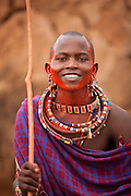 A young Maasai man at a village near Amboseli National Park, Kenya