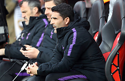 Tottenham Hotspur stand in manager Jesus Perez with manager Mauricio Pochettino in the stands