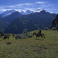 Cordillera Vilcabamba, Andes Mountains, Peru. Ben Wiltsie rides up Cerro Victoria Pass above Yanama River, with Nevado Sacsarayoc in background.