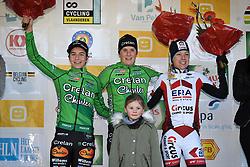 February 25, 2018 - Oostmalle, BELGIUM - Dutch Maud Kaptheijns, Belgian Loes Sels and Dutch Annemarie Worst pictured on the podium after the women  race at the 'Internationale Sluitingsprijs Oostmalle' cyclocross race, Sunday 25 February 2018, in Oostmalle, the last race of the 2017-2018 season. BELGA PHOTO DAVID STOCKMAN (Credit Image: © David Stockman/Belga via ZUMA Press)