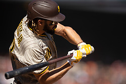 San Diego Padres' Fernando Tatis Jr. (23) connects for a double against the San Francisco Giants during the fourth inning of a baseball game, Saturday, Oct. 2, 2021, in San Francisco. (AP Photo/D. Ross Cameron)