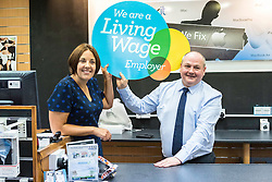 Scottish Labour Leader, Kezia Dugdale, visits IT repair and retail store SimplyFixIt in Edinburgh, which has recently been accredited as a living wage employer.<br /> <br /> Pictured: Kezia Dugdale with with Scott Wilkinson (Area Manager)