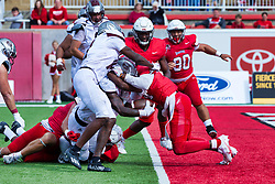 NORMAL, IL - October 02: Tobias Little manages to get underneath Iverson Brown to break the plane of the goal line and score 6 points during a college football game between the Bears of Missouri State and the ISU (Illinois State University) Redbirds on October 02 2021 at Hancock Stadium in Normal, IL. (Photo by Alan Look)