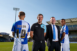 Shield Sponsor photo with Matty Taylor, Manager Darrel Clarke and Jermaine Easter of Bristol Rovers - Mandatory byline: Rogan Thomson/JMP - 07966 386802 - 07/09/2015 - FOOTBALL - Memorial Stadium - Bristol, England - Bristol Rovers Team Photos.