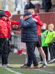 Arbroath's manager Dick Campbell at the end. Brechin City 1 v 1 Arbroath, Scottish Football League Division One played 13/4/2019 at Brechin City's home ground Glebe Park. Arbroath win promotion.
