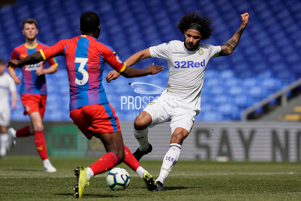 Izzy Brown of Leeds United U23 in action during the U23 Professional Development League match between U23 Crystal Palace and Leeds United at Selhurst Park, London, England on 15 April 2019.