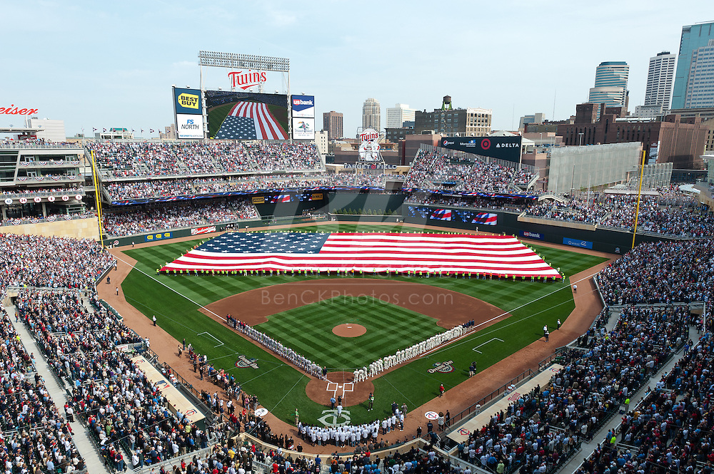 A general view during the national anthem before the first official game at Target Field on April 12, 2010 in Minneapolis, Minnesota.  The game was between the Boston Red Sox and the Minnesota Twins.