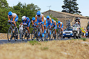 France, Grabels, 7 July 2009: Garmin - Slipstream drive out Grabels during Stage 4 of the 2009 Tour de France cycle race. This stage was the Team Time Trial and started and ended in Montpellier and was 39km long. Photo by Peter Horrell / http://peterhorrell.com .