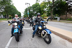 John Bartman (L) and Bill Page riding in the Cross Country Chase motorcycle endurance run from Sault Sainte Marie, MI to Key West, FL (for vintage bikes from 1930-1948). Stage 2 from Ludington, MI to Milwaukee, WI, USA. Saturday, September 7, 2019. Photography ©2019 Michael Lichter.
