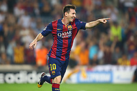 Lionel Messi of FC Barcelona celebrates after scoring his side's second goal during the UEFA Champions League, Group F, football match between FC Barcelona and Ajax Amsterdam on October 21, 2014 at Camp Nou Stadium in Barcelona, Spain. Photo MANUEL BLONDEAU / AOP PRESS / DPPI
