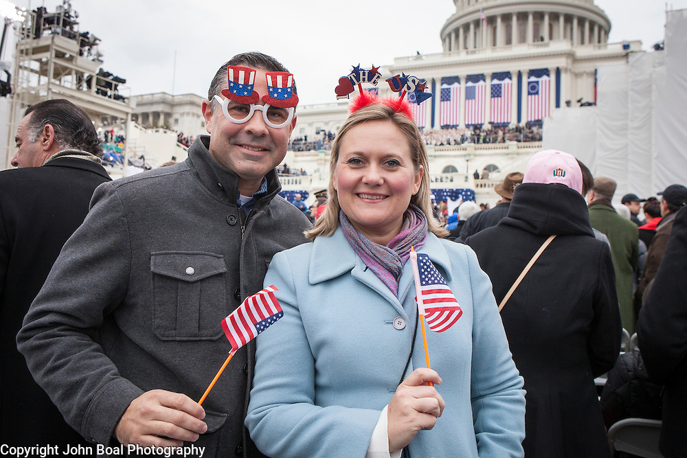 """Paul and Melissa McDermott, of Bradenton, FL, during the ceremonies preceding the Inauguration of Donald Trump as the 45th President of the United States, January 20, 2017.  When asked about their hopes for the Trump administration, Paul said he's """"hopeful to get a Supreme Court nominee as close to Scalia as we can get...we need to get back on course...""""  Melissa expressed hope that the Trump administration could overturn Roe v Wade.  John Boal Photography"""