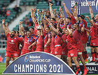 Rugby Union - 2020 / 2021 European Rugby Heineken Champions Cup - Final - Toulouse vs La Rochelle - Twickenham<br /> <br /> Toulouse team celebrate with the trophy<br /> <br /> CreditCOLORSPORT/ANDREW COWIE