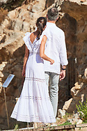 King Felipe VI of Spain, Queen Letizia of Spain are seen visiting to the Monographic Museum and Necropolis of 'Puig des Molins', the best preserved necropolis in the Mediterranean, home of the goddess Tani  on August 17, 2020 in Ibiza, Spain