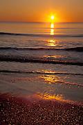 Sunrise with Orange sky at Myrtle Beach State park, SC