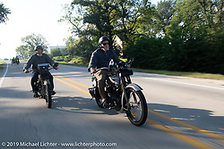 Father and Son - Bill and Billy Page riding their Harley-Davidsons in the Motorcycle Cannonball coast to coast vintage run. Stage 7 (274 miles) from Cedar Rapids to Spirit Lake, IA. Friday September 14, 2018. Photography ©2018 Michael Lichter.