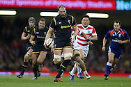 Alun Wyn Jones of Wales makes a break.   Under Armour 2016 series international rugby, Wales v Japan at the Principality Stadium in Cardiff , South Wales on Saturday 19th November 2016. pic by Andrew Orchard, Andrew Orchard sports photography