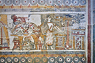 The painted Minoan Hagia Triada Sarcophagus 1370-1300 BC. Heraklion Archaeological Museum.<br /> <br /> The limestone Hagia Triada Sarcophagus is painted with frescoes depicting the ceremonies honouring the dead. .<br /> <br /> If you prefer to buy from our ALAMY PHOTO LIBRARY  Collection visit : https://www.alamy.com/portfolio/paul-williams-funkystock/minoan-art-artefacts.html . Type -   Heraklion   - into the LOWER SEARCH WITHIN GALLERY box. Refine search by adding background colour, place, museum etc<br /> <br /> Visit our MINOAN ART PHOTO COLLECTIONS for more photos to download  as wall art prints https://funkystock.photoshelter.com/gallery-collection/Ancient-Minoans-Art-Artefacts-Antiquities-Historic-Places-Pictures-Images-of/C0000ricT2SU_M9w