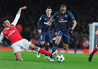 Football - 2016 / 2017 UEFA Champions League - Group A: Arsenal vs. Paris Saint-Germain<br /> <br /> Lucas of PSG and Kieran Gibbs of Arsenal at The Emirates.<br /> <br /> COLORSPORT/ANDREW COWIE