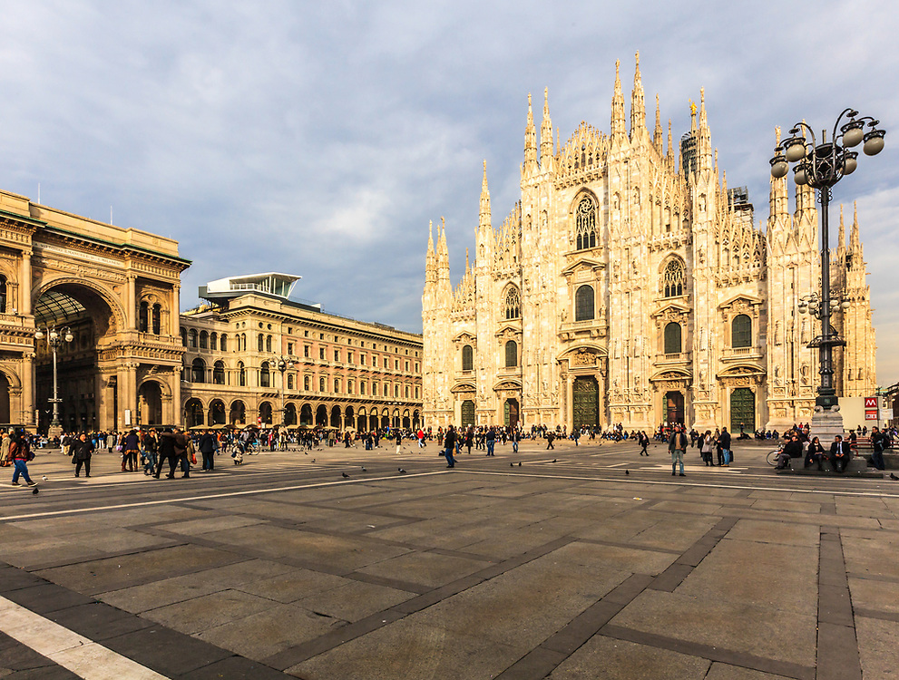The Duomo di Milano, Milan's magnificent Gothic cathedral, is one of the world's largest churches. Its dazzling white front façade, arguably the world's most beautiful, dominates the cathedral square.