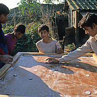 Asia, Nepal, Bardia. Local boys in Bardia pass time playing a board game in the sun - a bit like billiards meets marbles on an air hockey like surface using checkers!