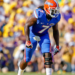 Oct 12, 2013; Baton Rouge, LA, USA; Florida Gators linebacker Ronald Powell (7) against the LSU Tigers during the first half of a game at Tiger Stadium. Mandatory Credit: Derick E. Hingle-USA TODAY Sports