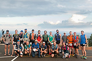 High Point, New Jersey - Runners gather for a group photograph before the start of the Shawangunk Ridge Trail Run/Hike 70-mile race at High Point State Park on Sept. 15, 2017.