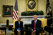 President Donald Trump meets with Prime Minister Paolo Gentiloni of Italy in the Oval Office of the White House in Washington, District of Columbia, U.S., on Thursday, April 20, 2017.  Trump and Gentiloni are meeting ahead of the G-7 industrialized nations meeting in Italy next month.