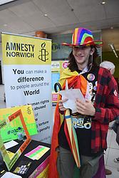 Norwich Pride, 28 July 2018 UK - Amnesty stall