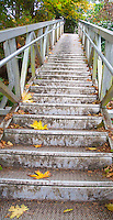The long set of stairs leads to Vantreight Beach near Victoria, BC