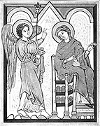 Miniature of the Annunciation from a German manuscript of the beginning of the thirteenth century From the book ' Illuminated manuscripts in classical and mediaeval times : their art and their technique ' by Middleton, J. H. (John Henry), 1846-1896 Published in 1892