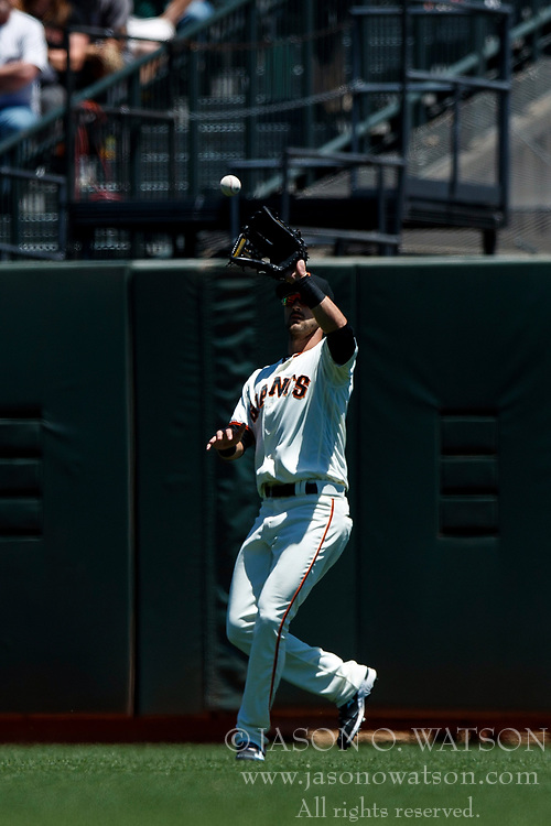 SAN FRANCISCO, CA - JULY 15: Steven Duggar #6 of the San Francisco Giants catches a fly ball against the Oakland Athletics during the second inning at AT&T Park on July 15, 2018 in San Francisco, California. The Oakland Athletics defeated the San Francisco Giants 6-2. (Photo by Jason O. Watson/Getty Images) *** Local Caption *** Steven Duggar
