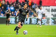 Shinji Okazaki of Leicester City in action. Premier league match, Swansea city v Leicester city at the Liberty Stadium in Swansea, South Wales on Saturday 21st October 2017.<br /> pic by Aled Llywelyn, Andrew Orchard sports photography.