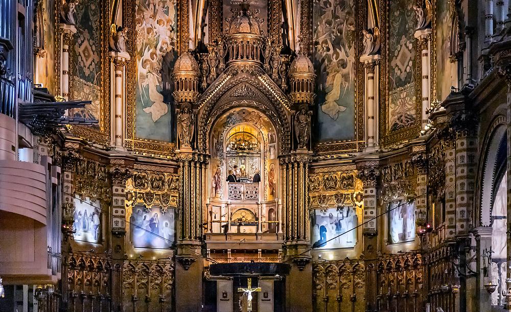 Interior alter and icon of Santa Maria de Montserrat, Monistrol de Montserrat,  Catalonia, Spain.