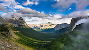 Going to the Sun Highway from Logan Pass, Glacier National Park, Montana USA