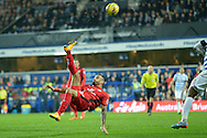 Marcin Wasilewski of Leicester City attempts an overhead kick into the box. Barclays Premier league match, Queens Park Rangers v Leicester city at Loftus Road in London on Saturday 29th November 2014.<br /> pic by John Patrick Fletcher, Andrew Orchard sports photography.