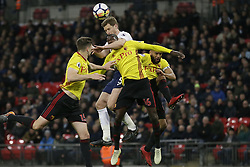 BRITAIN-LONDON-FOOTBALL-PREMIER LEAGUE-TOTTENHAM HOTSPUR VS WATFORD.(180430) -- LONDON, April 30, 2018  Tottenham Hotspur's Jan Vertonghen (2nd L) competes for the ball with Watford's Craig Cathcart (L), Watford's Abdoulaye Doucouré (2nd R) and Watford's Adrian Mariappa (R) during the Premier League football match between Tottenham Hotspur and Watford at Wembley Stadium in London, Britain on April 30, 2018.  Tottenham Hotspur won 2-0.  FOR EDITORIAL USE ONLY. NOT FOR SALE FOR MARKETING OR ADVERTISING CAMPAIGNS. NO USE WITH UNAUTHORIZED AUDIO, VIDEO, DATA, FIXTURE LISTS, CLUB/LEAGUE LOGOS OR ''LIVE'' SERVICES. ONLINE IN-MATCH USE LIMITED TO 45 IMAGES, NO VIDEO EMULATION. NO USE IN BETTING, GAMES OR SINGLE CLUB/LEAGUE/PLAYER PUBLICATIONS. (Credit Image: © Tim Ireland/Xinhua via ZUMA Wire)