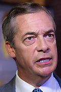 Brexit Party leader Nigel Farage answers media questions at an event to introduce prospective parliamentary candidates, in Central London, United Kingdom on 27th August, 2019.