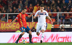March 24, 2019 - Valencia, Valencia, Spain - Sergio Busquets of Spain national team and Markus Henriksen of Norway national team during the European Qualifying round Group F match between Spain and Norway at Estadio de Mestalla, on March 23 2019 in Valencia, Spain  (Credit Image: © Maria Jose Segovia/NurPhoto via ZUMA Press)