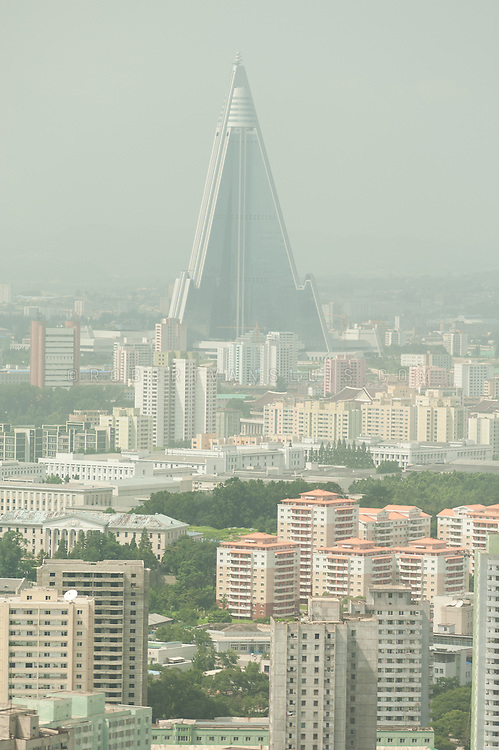 Aerial view of Pyongyang, DPRK (North Korea), showing the prominent Ryugyong Hotel