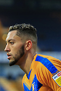 Single player portrait half body Kellan Gordon of Mansfield Town (12) during the The FA Cup match between Mansfield Town and Dagenham and Redbridge at the One Call Stadium, Mansfield, England on 29 November 2020.