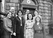 1980-02-29.29th February 1980.29-02-1980.02-29-80..Nurses at Irish Red Cross Society/Cumann Croise Deirge hÉireann in advance of going to Kampuchea..Photographed at Irish Red Cross Society, Dublin:..From Left:..Anne Hickey, Thurles, Co Tipperary.Dr Pat Donohoe, Cashel, Co Tipperary.Patricia Tobin, Thurles, Co Tipperary.Michael McCarthy, Ballsbridge, Dublin.Bridget Lyons, Walkinstown, Dublin.Philomena Mulligan, Ballaghaderreen, Co Roscommon.Katherine M. Hyland, Aragen, Co Cork..