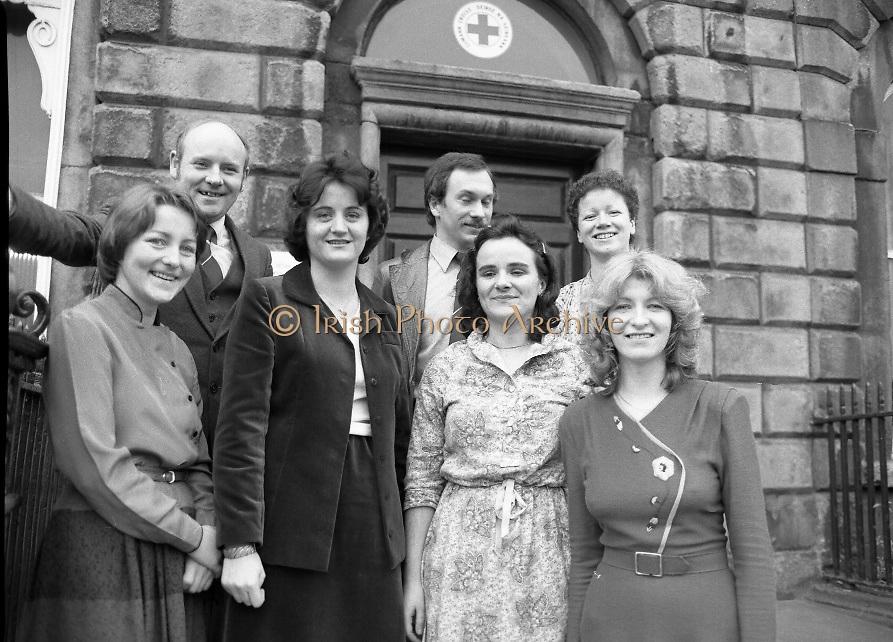 1980-02-29.29th February 1980.29-02-1980.02-29-80..Nurses at Irish Red Cross Society/Cumann Croise Deirge hÉireann in advance of going to Kampuchea..Photographed at Irish Red Cross Society, Dublin:..From Left:..Anne Hickey, Thurles, Co Tipperary.Dr Pat Donohoe, Cashel, Co Tipperary.Patricia Tobin, Thurles, Co Tipperary.Michael McCarthy, Ballsbridge, Dublin.Bridget Lyons, Walkinstown, Dublin.Philomena Mulligan, Ballaghaderreen, Co Roscommon.Katherine M. Hyland, Aragen, Co Cork..