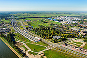 Nederland, Utrecht, Leidsche Rijn, 30-09-2015; zuidelijk ingang van de Leidsche Rijntunnel en verkeersplein Hooggelegen, afslag Rijksweg 2 (A2) bij Leidse Rijn.<br /> Entrance land tunnel for motorway A2 and Hooggelegen junction near Utrecht.<br /> <br /> luchtfoto (toeslag op standard tarieven);<br /> aerial photo (additional fee required);<br /> copyright foto/photo Siebe Swart