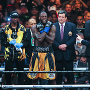 Deontay Wilder is seen during introductions as he is about to face Luis Ortiz during the WBC Heavyweight Championship boxing match at Barclays Center on Saturday, March 3, 2018 in Brooklyn, New York. Wilder would win the bout by knockout in the tenth round to retain the title and move to 40-0. (Alex Menendez via AP)