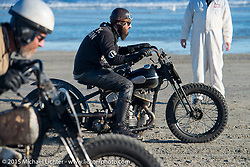 Nicholoas Toscano on his Harley-Davidson UL (in a 36 VL frame) racing Andrew Wood on his 1929Harley-Davidson / JD Racer at the Race of Gentlemen. Wildwood, NJ, USA. October 11, 2015.  Photography ©2015 Michael Lichter.