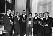 03/07/1963<br /> 07/03/1963<br /> 03 July 1963<br /> David Brown Tractor and Implements Maintenance Awards presented by Minister of Industry and Commerce Jack Lynch TD at the Shelbourne Hotel, Dublin. Picture shows the award winners with jack Lynch TD.
