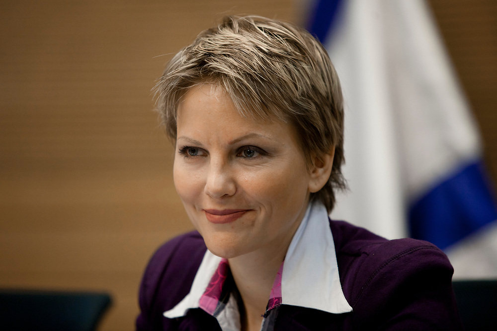 Israeli lawmaker, Knesset Member Anastassia Michaeli of the Israeli right-wing party Yisrael Beiteinu attends a session of the Committee on the Rights of the Child at the Knesset, Israel's parliament in Jerusalem, on June 25, 2012.