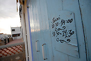 Handwritten timetable in a shop, Sant Francesc, Formentera